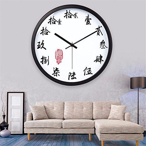 Orologio da parete creative testo tradizionale ed elegante soggiorno moderno atmosfera minimalista di quarzo orologio analogia silenzioso home soggiorno, nero