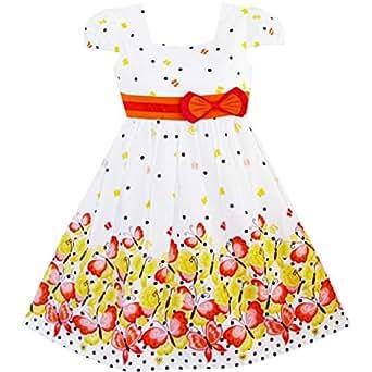 Sunny Fashion Robe Fille Court Manche Papillon Point École Uniforme 4-5 ans