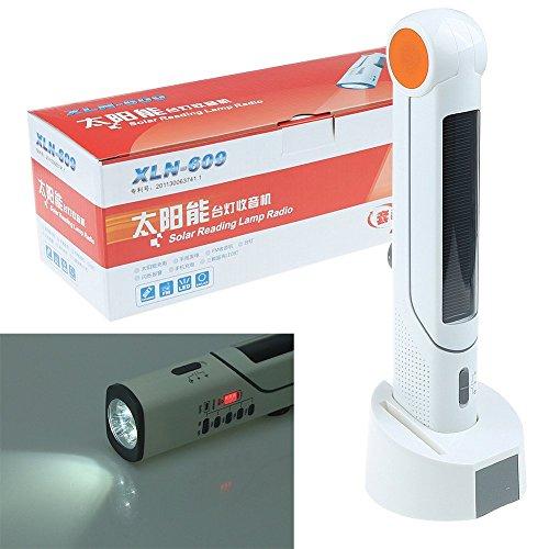 ARBUYSHOP Solar-Handkurbel Tischplatte Lampe Radio-Squealing Siren / Beacon Taschenlampe Handy-Ladegerät w / USB-Kabel (Lampen Tischplatte)