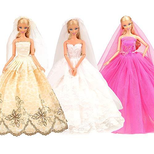 Miunana 3 abiti vestiti da sposa con pizzo + velo alla moda per 11.5 pollici 28 - 30 cm bambola