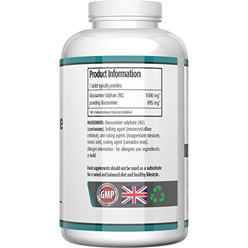 Glucosamine Sulphate 1500 MG 365 Tablets (1 Years Supply) High Strength Supplement MONEY BACK GUARANTEE Buy 2 & get FREE DELIVERY 2KCL – Not Gel, Capsules, Liquid Or Powder – Benefits Include Joint Support, Joint Care & Improves Arthritis – Manufactured in the UK