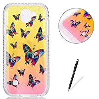 LG K3 2017 Case Silicone,[with Free Black Touch Stylus] KaseHom Gradient Colour Gold and Pink Soft TPU Bumper Skin Bling Glitter Diamond Unique Fashion Design Pattern Ultra Slim Shell Shockproof Anti-Scratch Protective Cover for LG K3 2017,Colorful Butter