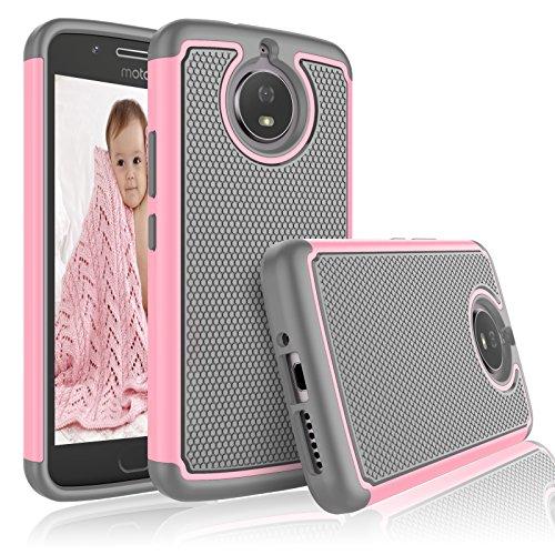eutekcoo für Moto G5S Handy Fall, [tmajor Series] Dual Layer stoßfest Cover grün Baby Pink/Grey Baby Pink Hard Gummi