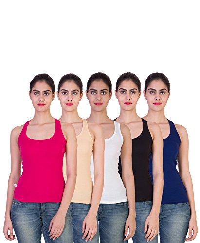 2DAY-Womens-Stylish-Comfy-Tank-top-FushiaSkinWhiteBlackRoyal-Blue-Pack-of-5