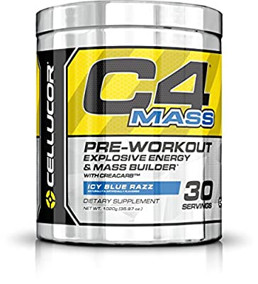 Cellucor - C4 Mass Premium Pre Workout Powder for Muscle Building with Creatine, Beta Alanine and TeaCor - Icy Blue Razz - 30 Servings by Nutrabolt