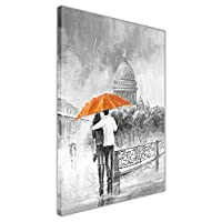 Black and White Romantic Couple On Bridge Holding Blue Umbrella on Framed Canvas Pictures Oil Painting Re-Print Wall Art