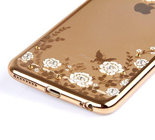 SainCat Coque Housse pour Apple iPhone 7 Plus,Transparent Coque Silicone Etui Housse,iPhone 7 Plus Silicone Case Soft Gel Cover Anti-Scratch Transparent Case TPU Cover,Fonction Support Protection Comp Gold-Blanc fleur