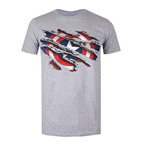 Marvel Captain America Torn, Camiseta para Hombre, Gris (Grey Heather), XX-Large