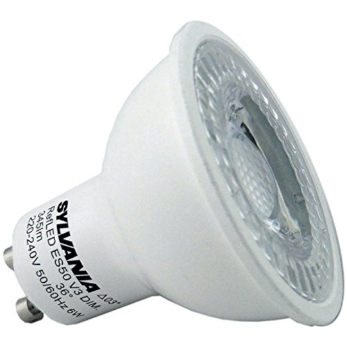 6er Pack Sylvania 5Watt dimmbare GU100028444RefLED V4345 lm, 5Watt dimmbare LED GU10Glühbirne Ersatz für 50Watt Halogenglühbirnen 8656500K Tageslichtweiß (Sylvania Watt 75)