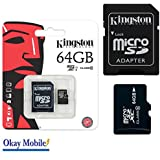 Kingston Carte mémoire microSD SDHC 64Go d'origine pour Samsung Galaxy A52016sm-g386a510F–64Go