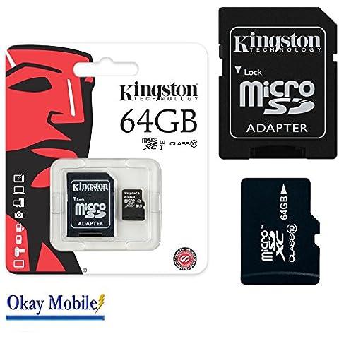 Original Kingston MicroSD Tarjeta De Memoria de 64GB para Microsoft Lumia 950/950XL–64GB
