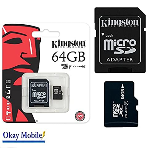Kingston Carte mémoire microSD 64 Go d'origine pour Samsung Galaxy J5/J5 Duos – 64 Go