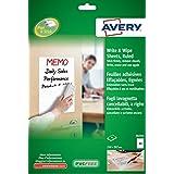 Avery España 70705 - Pack de 4 hojas para pizarra borrables A4, 210 x 297 mm, color blanco