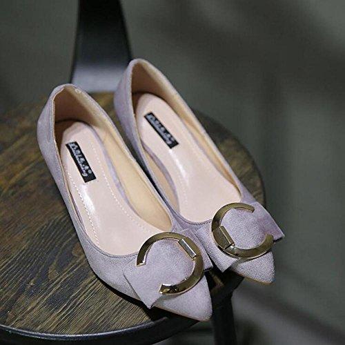 L @ yc Tacones Altos De Mujer De Primavera Y Otoño De Gamuza 5 Cm Con El Dedo Del Pie Acentuado Con Bajo-bañador Zapatos De Baile Gris