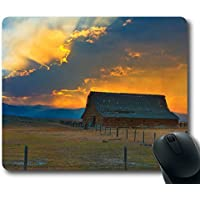Mouse Pad Oblong Shaped Mouse Mat Country Barn Design Natural Eco Rubber Durable Computer Desk Stationery Accessories Mouse Pads For Gift Support Wired Wireless or Bluetooth Mouse