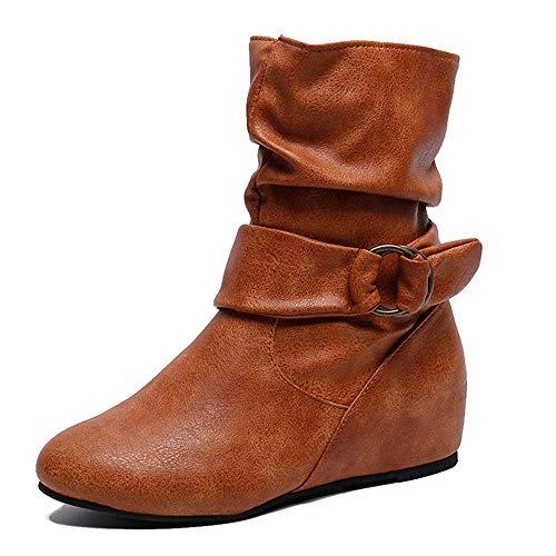 MYMYG Stiefel Frauen erhöhen innerhalb des seitlichen Reißverschlusses seitlicher Reißverschluss Madeline Boots Chelsea Boots Leder Kurz Stiefeletten Schneestiefel Schneeschuhe