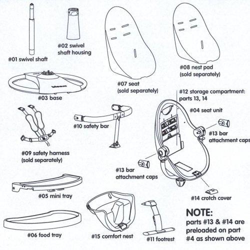 Imagen para Para Notebook para trona Bloom Fresco–Elevador de color blanco–# 15Comfort Nest White