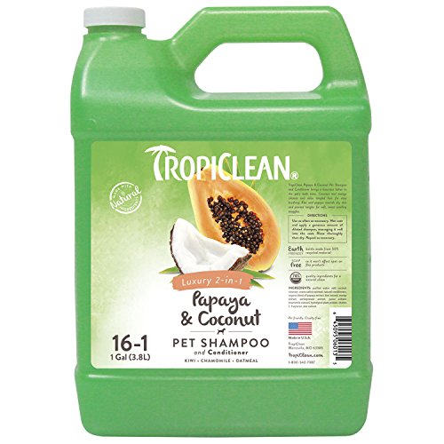 TropiClean Papaya & Coconut 2-in-1 Pet Shampoo, 1 Gallon