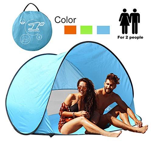 Portable Pop Up Sun Tent Automatik Instant Cabana Familie UV Schutz Beach Shelter für Outdoor Camping Beach Angeln Garten (2-3person) (Tasche Fenster Anzug Mit)