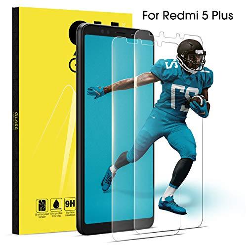 """Cristal Templado para Xiaomi Redmi 5 Plus Protector de Pantalla, 2 Pcs Vidrio Transparente 3D Cobertura de Pantalla Frontal 9H Dureza Protectora de Vidrio Templado para 5,99"""" RedMi 5 Plus Sin Burbujas"""