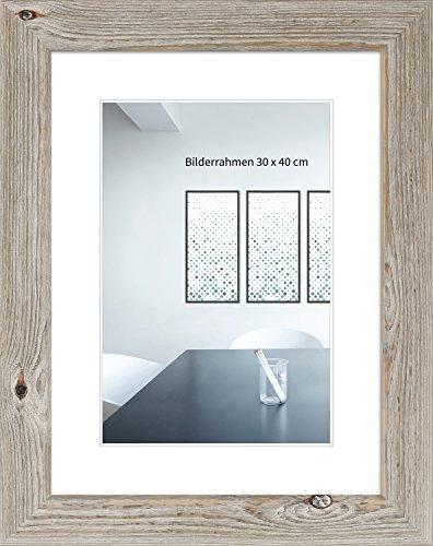 WANDStyle Bilderrahmen H770 im Landhaus Stil aus Massivholz mit Normalglas Farbe: Eiche Weiß Größe: 29,7 x 42 cm (A3)