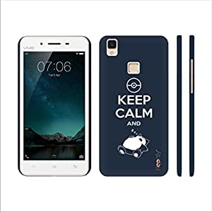 Heartly Keep Calm Quote Printed Designer Thin Hard Bumper Back Case Cover For VIVO V3 - Grey