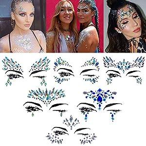 Gesicht Edelsteine OASMU 6 Set Temporäre Tattoos Festival Glitter, Strass Temporäre Tattoo Gesicht Juwelen Kristalle Strasssteine Gesicht Aufkleber Augenbraue Gesicht Körperschmuck 2019 Neuest!!!