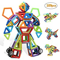 infinitoo Blocs Construction Magnétiques   109 Pièces Mini Jeux de Construction Magnetique Colorée 3ère-Version