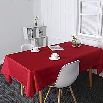 Suo Ai Textile Nappe Rectangulaire Impermeable Pour Table Salle A Manger 132x229cm Rouge