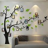 Guangmu Wandaufkleber mit Bilderrahmen 3D Wandtattoos Wandsticker Speicher Foto Acryl Baum Sticker für Hause Dekorationen Kunst (Hellgrün Rechts, L(230*164.3CM))