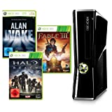 Xbox 360 - Konsole Slim 250 GB + Alan Wake, Halo Reach und Fable III (DLCs),schwarz-glänzend