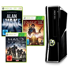 Xbox 360 - Konsole Slim 250 GB + Alan Wake, Halo Reach und Fable III (DLCs), schwarz-glänzend