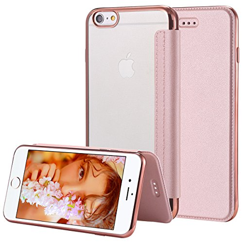 Snewill iPhone 6S Plus Hülle,iPhone 6 Plus Hülle,iPhone 6/6S Plus Case, Slim PU Leather Folio Flip Case with Card Slot & Clear Soft TPU Back Cover for Apple iPhone 6 Plus/6S Plus-Rose Gold Slim Card Case