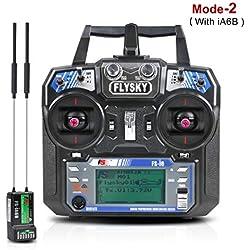 LITEBEE Flysky FS i6 6CH RC Radio de Transmisor + Receptor FS-ia6B RC (2.4GHz, AFHDS 2A, Transmisor RC y Receptor) para RC Quadcopter Drone (Modo 2 Acelerador de Mano Izquierda)