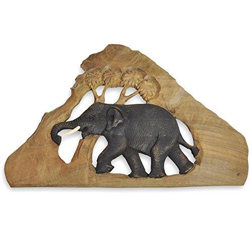 Elefantenbild Elefantenfamilie Wandbild Deko im Kolonialstil Afrika Elefant Unikat Holz Stoßzähne Relief ***alles Einzelstücke***