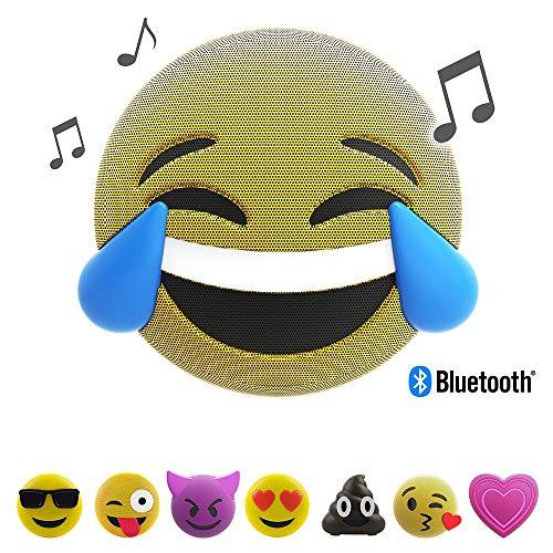 JAM Jamoji Bluetooth Lautsprecher mit LED-Beleuchtung - LOL - Laughing out Loud Smiley Emoticon Emoji - kabellose Lautsprecherbox - 6 Stunden Akkulaufzeit - mit Standfuß - AUX und Micro-USB Anschluss