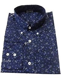 Bleu marine/motif Floral moderne Men's Shirt's Vintage classique