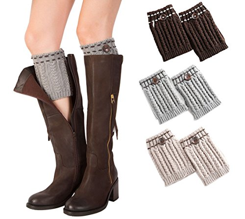 3 Paires Knitting Socks Jambières Boot Cover Gardez chaussettes chaudes(noir, lightgray, blanc)