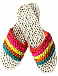 XING GUANG Handgewebte Regenbogen-Sandalen Bunte Streifen Regenbogen-SandalenMulti-Colored(40)  Multi-colored(40)