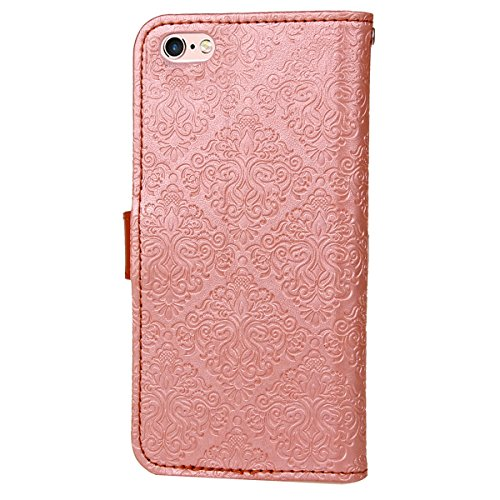 JAWSEU Coque Etui pour iPhone 6 Plus/6S Plus 5.5,iPhone 6S Plus Leather Case with Strap,iPhone 6 Plus Etui en Cuir Folio Flip Wallet Cover Case,2017 Neuf Style Femme Homme Up and Down Unlock Holster R Rose or*