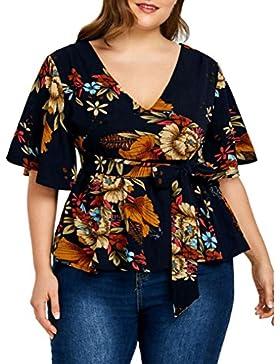 LuckyGirls Camisetas Mujer Originales Tallas Grandes Verano Manga Corta Floral Estampado Sexy Remeras Blusas Camisas...