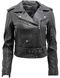 Ladies Black Casual Retro Brando Nappa Leather Biker Jacket