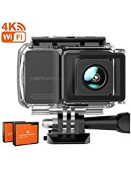 DBPOWER Action Cam, 4K 16MP HD WiFi Con Microfono Esterno Fotocamera Sott'acqua 30M con EIS Stabilizzazione Telecomando Videocamera Impermeabile 170° Grandangolare Time Lapse/2 Batterie/Accessori