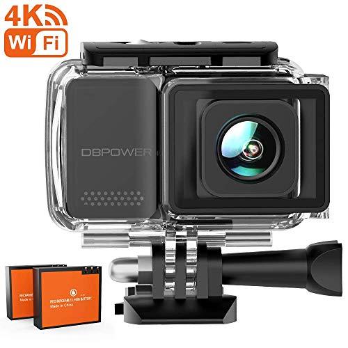 DBPOWER Action Cam, 4K 16MP HD WiFi Con Microfono Esterno Fotocamera Sott\'acqua 30M con EIS Stabilizzazione Telecomando Videocamera Impermeabile 170° Grandangolare Time Lapse/2 Batterie/Accessori