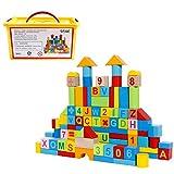 SGILE Holz Bausteine Set, 100 Blöcke Bunte Bauklötze Konstruktion Spielzeug Set Pädagogische Baukasten für Kinder Kleinkind Vorschulalter, Sortierung Stapeln Spielzeug Kindergeschenk