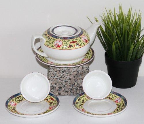 AAF Nommel Teeservice Peking, aus weißer Keramik mit gelb bunter chinesischer Bemalung Modell 019 für 2 Personen