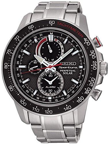 Seiko Sportura Herren-Armbanduhr 45mm Armband Edelstahl Quarz Analog SSC357P1