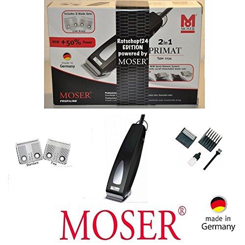 Rotschopf24 Edition: M O S E R Profiline - Haarschneider + 6 EXTRA Aufsteckkämme. 2 Schneidsätze! Kraftvoll. Made in Germany! 44105