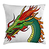 WCMBY Dragon Throw Pillow Cushion Cover, Monster Head Portrait Traditional Danger Retro Fantastic Animal Cartoon, Decorative Square Accent Pillow Case, 18 X 18 Inches, Fern Green Orange Red