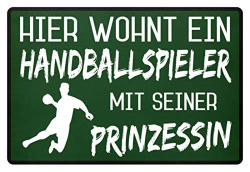 Shirtee Hier wohnt ein Handballspieler mit seiner Prinzessin - Fußmatte